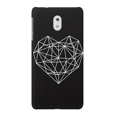 Black & white geometrical heart design Nokia 3 printed back cover