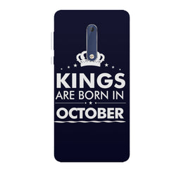 Kings are born in October design all side printed hard back cover by Motivate box Nokia 6.1 Plus (Nokia X6) hard plastic all side printed back cover.