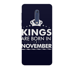 Kings are born in November design all side printed hard back cover by Motivate box Nokia 6.1 Plus (Nokia X6) hard plastic all side printed back cover.