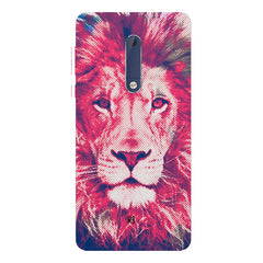Zoomed pixel look of Lion design Nokia 7 plus hard plastic printed back cover.