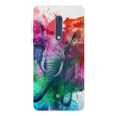 colourful portrait of Elephant Nokia 7 plus hard plastic printed back cover.