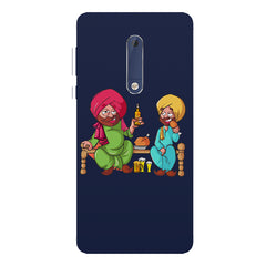 Punjabi sardars with chicken and beer avatar Nokia 7 plus hard plastic printed back cover.