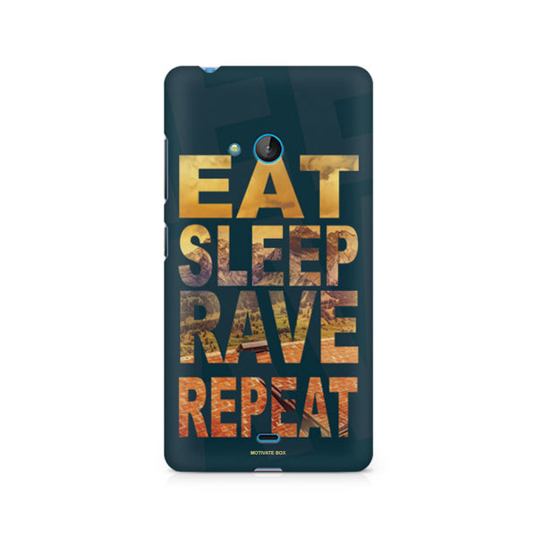 Eat Sleep Rave Repeat design, Nokia Lumia 540 printed back cover