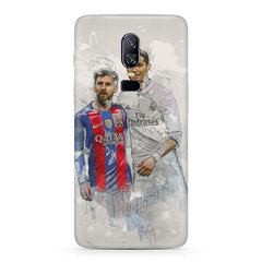 Messi meets Ronaldo portrait paint  design   Oneplus 6(Six) hard plastic all side printed back cover.
