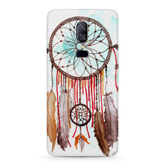 Colorful Water paint Dream Catcher Design Oneplus 6(Six) hard plastic all side printed back cover.