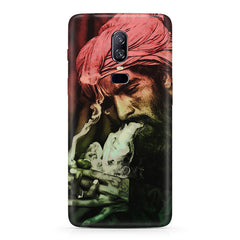 Portrait of a man with an intense look, smoking a cigar  Oneplus 6(Six) hard plastic all side printed back cover.