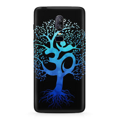 A beautiful blue tree with Om inscribed Oneplus 6(Six) hard plastic all side printed back cover.