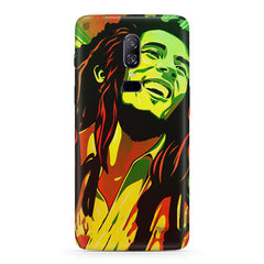 Bob Marley Multi colour fun Portrait Painting  capturing him in his happy avatar Oneplus 6(Six) hard plastic all side printed back cover.