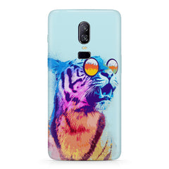 A funny, colourful yet cool portrait of a tiger wearing reflectors. Oneplus 6(Six) hard plastic all side printed back cover.