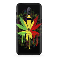 Marijuana colour dripping design Oneplus 6 all side printed hard back cover by Motivate box Oneplus 6 hard plastic printed back cover.