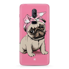 Pug with a bow on head sketch design Oneplus 6 all side printed hard back cover by Motivate box Oneplus 6 hard plastic printed back cover.