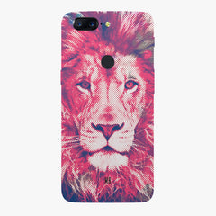 Zoomed pixel look of Lion design Oneplus 5T hard plastic all side printed back cover.
