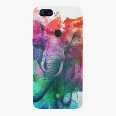 colourful portrait of Elephant Oneplus 5T hard plastic printed back cover