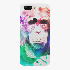 Colourful Monkey portrait Oneplus 5T hard plastic all side printed back cover.
