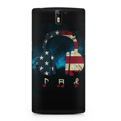 America tunes Blue sprayed OnePlus One printed back cover