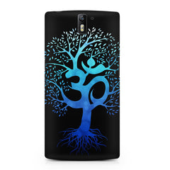 A beautiful blue tree with Om inscribed OnePlus One hard plastic printed back cover