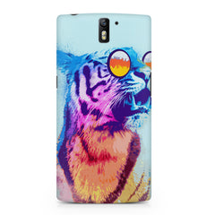 A funny, colourful yet cool portrait of a tiger wearing reflectors. OnePlus One hard plastic printed back cover