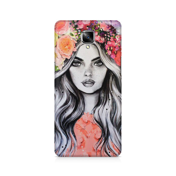 Beautiful Girl With Pretty Floral Hat OnePlus 3/3T printed back cover