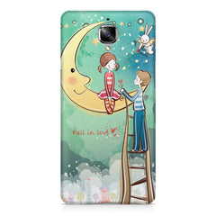 Couple on moon sketch design OnePlus 3/3T printed back cover