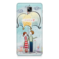 Couple under umbrella sketch design OnePlus 3/3T printed back cover
