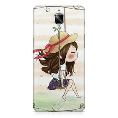 Girl swinging sketch design OnePlus 3/3T printed back cover