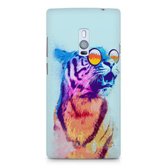A funny, colourful yet cool portrait of a tiger wearing reflectors. OnePlus Two hard plastic printed back cover