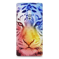 Colourful Tiger Design OnePlus Two hard plastic printed back cover