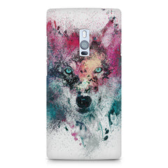 Splashed colours Wolf Design OnePlus Two hard plastic printed back cover