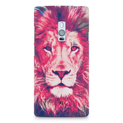 Zoomed pixel look of Lion design OnePlus Two hard plastic printed back cover