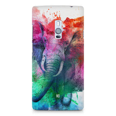 colourful portrait of Elephant OnePlus Two hard plastic printed back cover