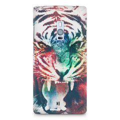 Tiger with a ferocious look OnePlus Two hard plastic printed back cover