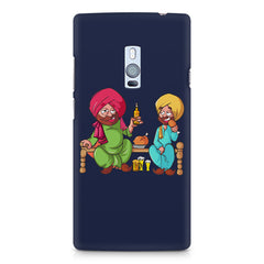 Punjabi sardars with chicken and beer avatar OnePlus Two hard plastic printed back cover