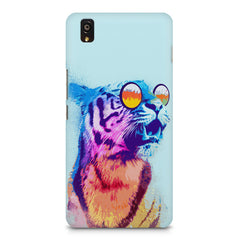 A funny, colourful yet cool portrait of a tiger wearing reflectors. OnePlus X hard plastic printed back cover