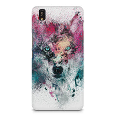 Splashed colours Wolf Design OnePlus X hard plastic printed back cover