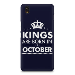 Kings are born in October design    OnePlus X hard plastic printed back cover