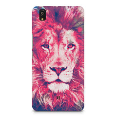 Zoomed pixel look of Lion design OnePlus X hard plastic printed back cover
