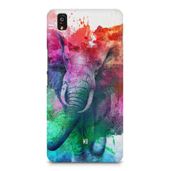 colourful portrait of Elephant OnePlus X hard plastic printed back cover