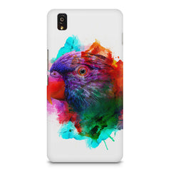 Colourful parrot design OnePlus X hard plastic printed back cover