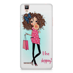 I love Shopping Girly design Oppo R9 hard plastic printed back cover