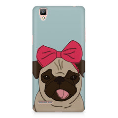 Pug with a bow on head sketch design    Oppo R9 hard plastic printed back cover