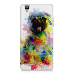 Colours splashed pug    Oppo R9 hard plastic printed back cover