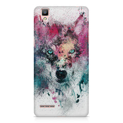 Splashed colours Wolf Design Oppo R7 hard plastic printed back cover
