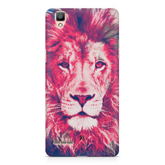 Zoomed pixel look of Lion design Oppo R7 hard plastic printed back cover