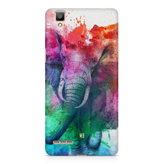 colourful portrait of Elephant Oppo F1 hard plastic printed back cover