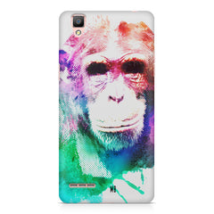 Colourful Monkey portrait Oppo F1 hard plastic printed back cover