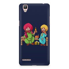 Punjabi sardars with chicken and beer avatar Oppo F1 hard plastic printed back cover