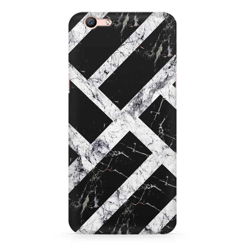 Black white rectangular bars oppo a59 printed back cover