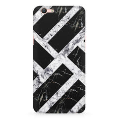 Black & white rectangular bars  Oppo A57  printed back cover