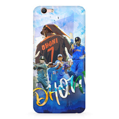 M.S Dhoni batting looks collage design Oppo A1 all side printed hard back cover by Motivate box Oppo A1 hard plastic printed back cover.