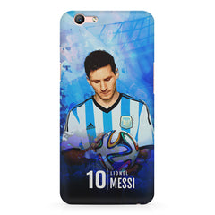 No.10 Lionel Messi Argentina with a football in hand design Oppo A1 all side printed hard back cover by Motivate box Oppo A1 hard plastic printed back cover.